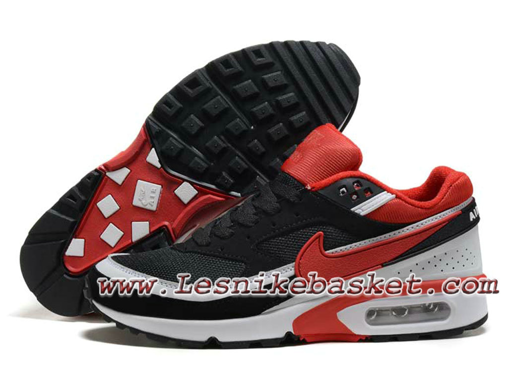 quality design 91001 574c7 ... Nike Air Max BW Chaussures Officiel Nike Prix pour Homme Noir Rouge  Blanc ...