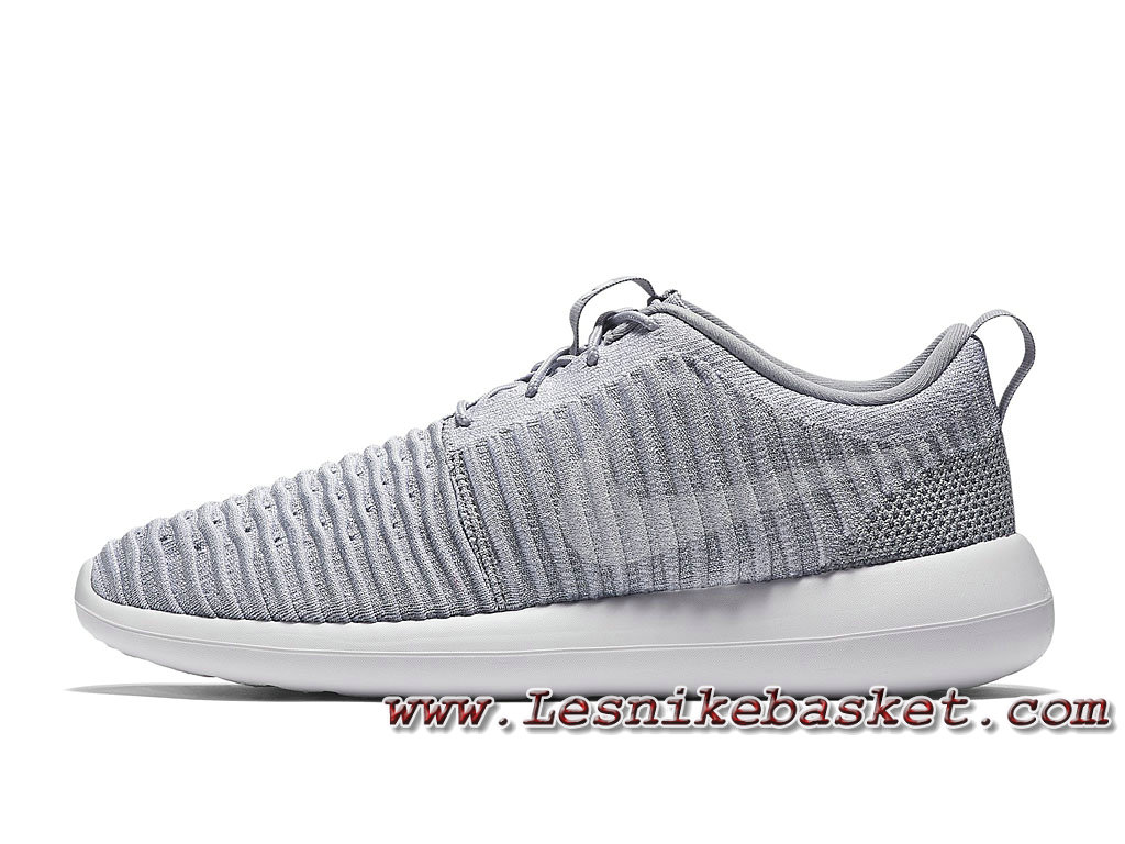 new concept a0cdd 77823 Running Nike Roshe Two Flyknit Gris Blanc 844833 008 Chaussures NIke Pas  cher Pour Homme ...